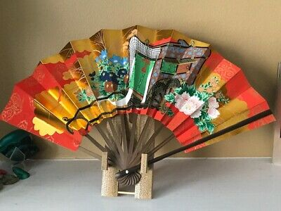 Japanese Folding Fan Handpaint Sensu Paper Bamboo Frame/Stand-New Original pack