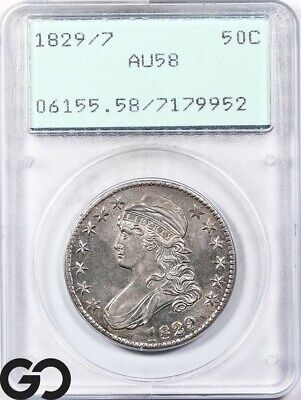 1829/7 Capped Bust Half Dollar PCGS AU58 ** Green Rattler, Looks 62 or better!
