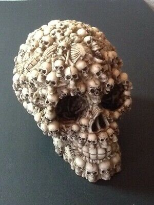 Skull with Skeletons and Bones Decorative Resin Figure Item No. SK-27 New In Box