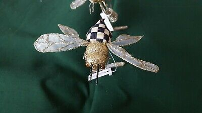 Mackenzie Childs Retired Courtly Check Bumble Bee Clips  Ornament New