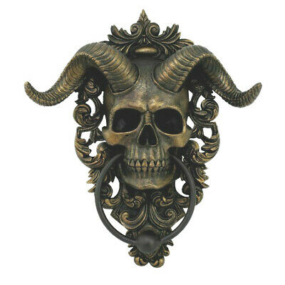 Macabre Gothic Castle Skull With Horns Devil Spooky Hallows Door Knocker
