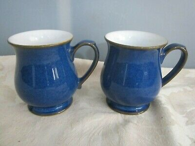 Two Vintage 1984 discontinued Denby stoneware Imperial Blue Craftsman Mugs VGC