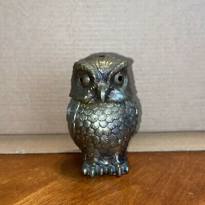 """Chinese Fengshui Collect Brass Copper Owl Statue Incense Burner 4"""" Tall"""