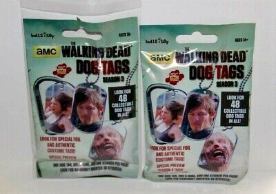 2014 THE WALKING DEAD Season 3 Dog Tags Factory Sealed Clean 2 Pack Lot TWD Tag