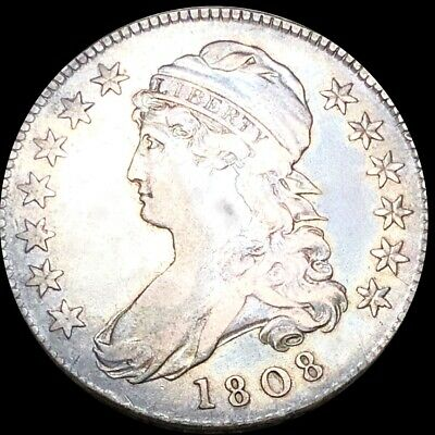 1808 Capped Bust Half Dollar LIGHTLY CIRCULATED Philadelphia High End 50c Silver