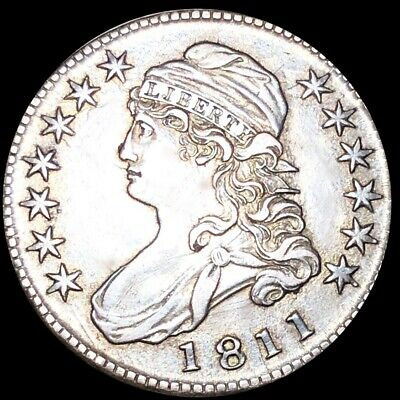 1811 Capped Bust Half Dollar NEARLY UNCIRCULATED Philadelphia 50c Silver Coin NR