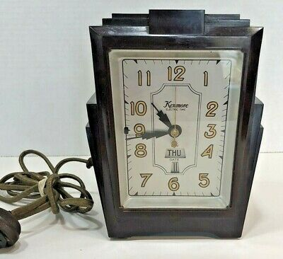 Rare Vintage Kenmore Deco Bakelite Electric Time Clock with Day and Date