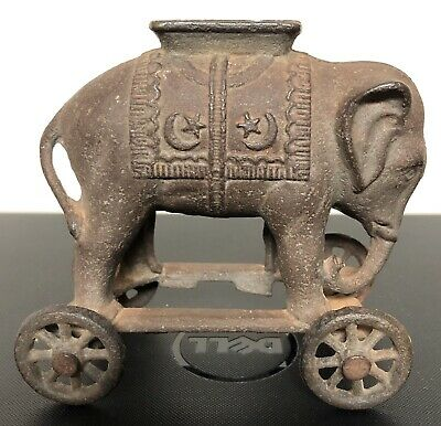 CAST IRON ELEPHANT BANK ON WHEELS A C WILLIAMS 1920's VINTAGE AND VERY NICE