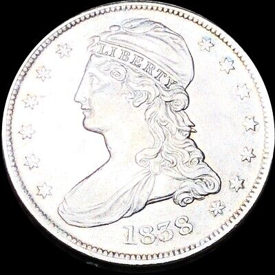 1838 Capped Bust Half Dollar APPEARS UNCIRCULATED Philadelphia ms bu 50c Silver!