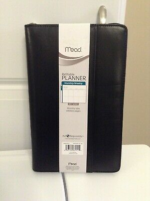 NEW MEAD Black Refillable Planner Organizer Calendar Note Pad address-Free shipp