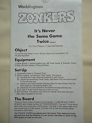 Instruction Leaflet For Vintage Waddingtons Zonkers