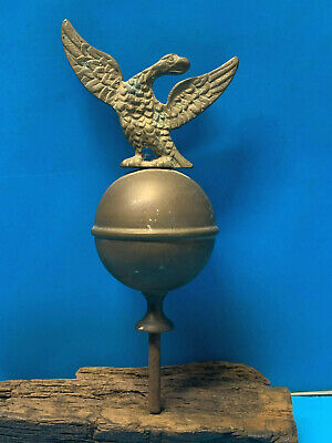 Vtg Brass American Eagle Bird On Ball Flag Topper Finial Mantle Clock Finial