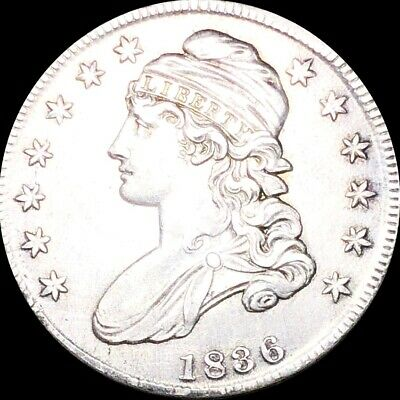 1836 Capped Bust Half Dollar CLOSELY UNCIRCULATED Philly ms bu 50c Silver Coin!