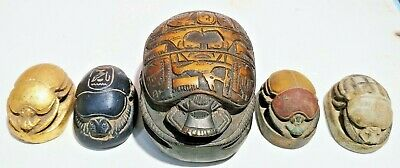 5 Rare Ancient Egyptian Antique Scarab 1200-1120 Bc