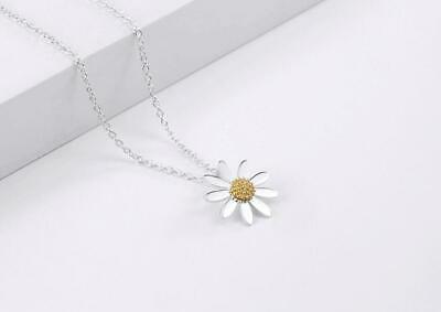 "925 Sterling Silver/&Gold Plated 2 Tone Daisy Flower Pendant Necklace 17.7/"" Gift"