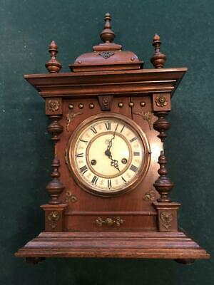 Antique Walnut Junghans Shelf Mantel Table Clock