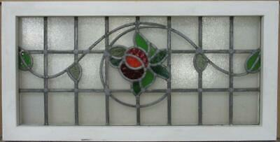 "OLD ENGLISH LEAD STAINED GLASS WINDOW TRANSOM Pretty Floral Vine 32.25"" x 16.5"""