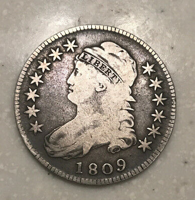 1809 Capped Bust Silver Half Dollar Rare Lettered Edge Great Detail Nice Strike