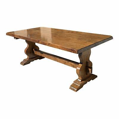 French Solid Walnut Monastery Trestle or Farm Table 1900s