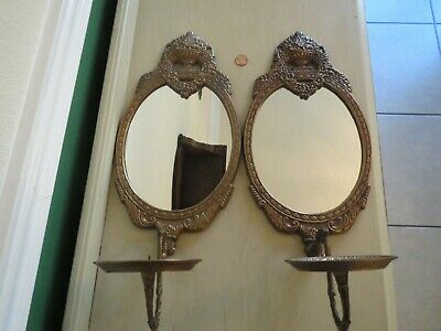 Pair Vintage Ornate Mirror Wall Sconces Heavy Cast Metal Candle Rococo Baroque