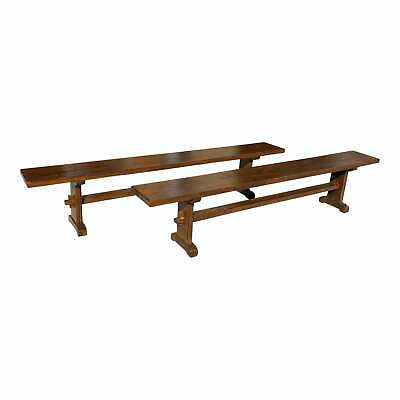 long Pair of French Solid Oak Monastery Trestle Benches 1900s.