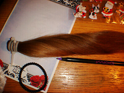 """Girls 100% real human virgin pony tail hair ooak collectible doll wig 15"""" w/pull"""