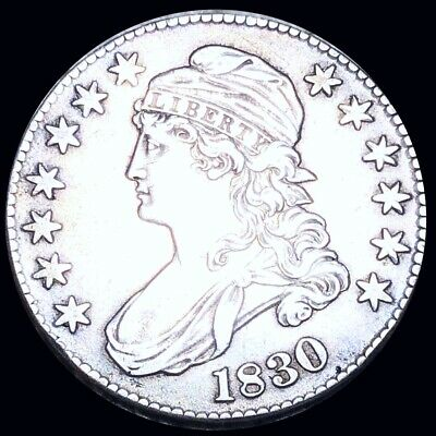 1830 Capped Bust Half Dollar NEARLY UNCIRCULATED Philly High End 50c Silver Coin