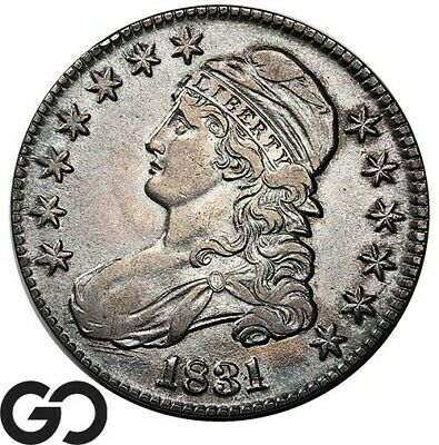 1831 Capped Bust Half Dollar, Gorgeous Look, Choice AU++ Silver 50c