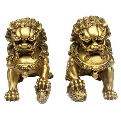 20cm China Classic Archaic Bronze lion pair Fu Foo Dog guard fengshui Statues