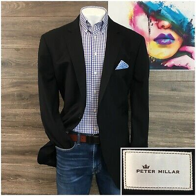 Peter Millar Sport Coat Blazer Mens Size 50T Tall Wool Two Button Jacket Black