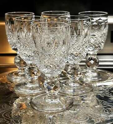 """Waterford """"Colleen"""" 6× Licquer Hand Cut Irish Crystal Glasses Signed Bases"""
