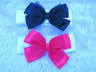 One Kinder Baby & Girls Spanish Romany Style Large Ribbon Bow Headband Pink Navy