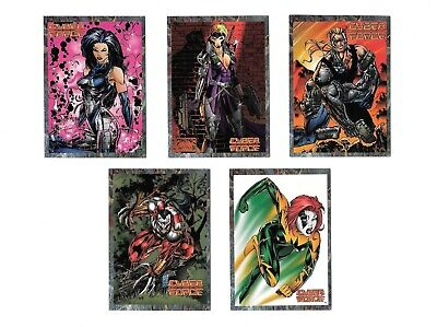 Cyber Force, Cards Illustrated magazine, promo cards 1 thru 5, from back in 1994