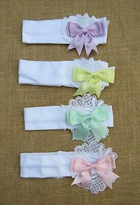 One Kinder Baby & Girls Spanish Romany Style Guipure Lace & Ribbon Bow Headband
