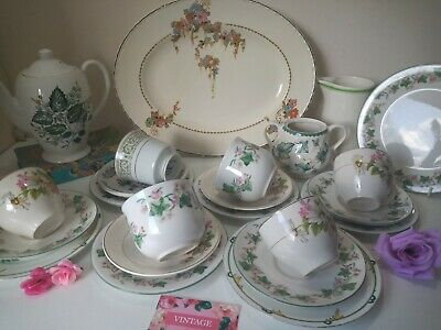 Vintage TEA SET Mismatched Green/Pink Afternoon Party Wedding Mothers Day 23 Pc