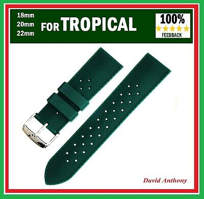 """GREEN"" FOR & FITS TROPICAL STYLE WATCHES 18mm, 20mm, 22mm DIVERS  RUBBER STRAP"