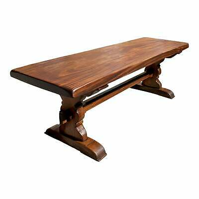 French Solid Mahogany Normandy Monastery Trestle or Farm Table 1900s