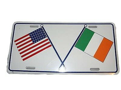 U.S.A.  Ireland Cross Flags License Plate New Metal Embossed