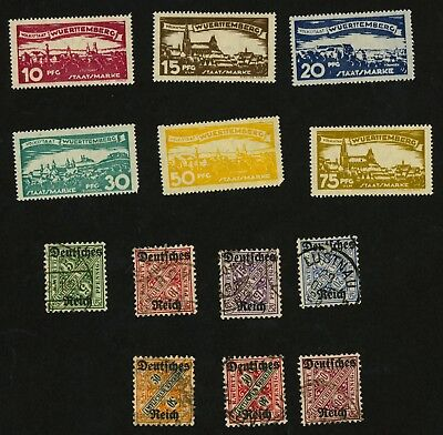 Germany Wurttemberg Official Stamps Scott #O166-O171 (MH) & O176-O182 Used, H