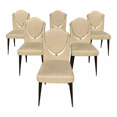 Set of 6 French Art Modern Solid Mahogany Dining Chairs 1940s