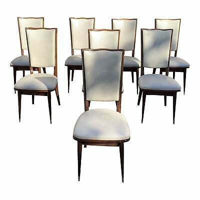 Set of 8 French Art Deco Solid Mahogany Dining Chairs 1940s.