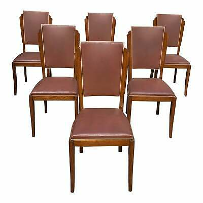Set of 6 Vintage French Art Deco Solid Mahogany Dining Chairs 1940s.