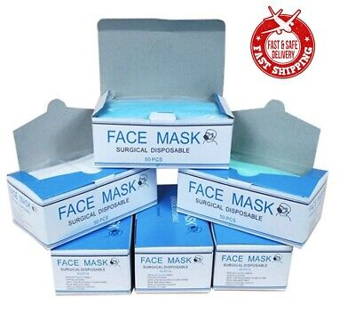 10 Box - 500 PCS Disposable Face Mask Surgical Medical Dental Industrial 3-Ply