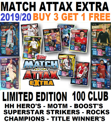 Match Attax Extra Champions League 2019/20 19/20 Limited Editions 100 Club's Etc