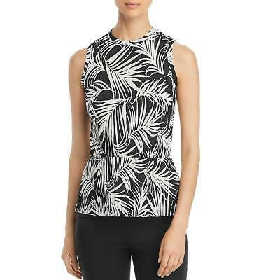 BOSS Hugo Boss Womens Emirna Black-Ivory Printed Peplum Top Shirt XL BHFO 7533