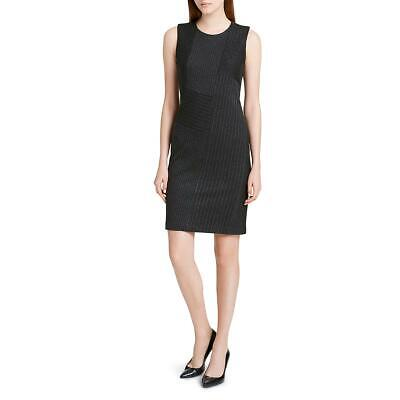 Calvin Klein Womens Black Striped Patchwork Wear to Work Dress 4 BHFO 7617