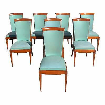 Set of 8 French Art Deco Solid Mahogany Jules Leleu Dining Chairs 1940s.