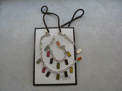 Auth COACH Sterling Silver colored Enamel Set of Necklace and Bracelet 68.2 gr