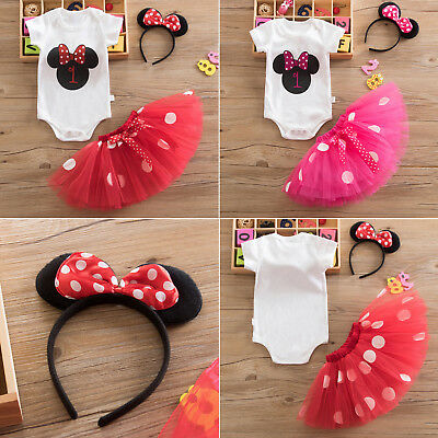 Toddler Baby Girls 1st Birthday Party Minnie Mouse Rompers Tutu Skirt Outfit Set
