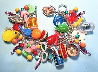 """Vintage Theme Gumball Charm Bracelet """"Beach Week"""" Silver Plate Chain and Finding"""
